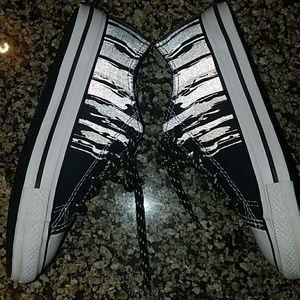 9b203f7bdc99 Converse Shoes - Black   neon green Converse with reflective design
